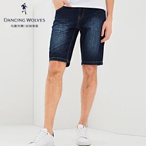 与狼共舞牛仔短裤 2017夏季新款男士牛仔五分裤4300