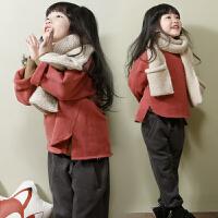 2018冬季韩版新款女童抓毛加厚套装休闲卫衣+百搭加绒裤套装