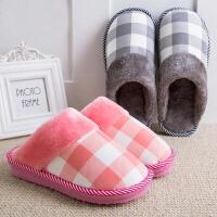 棉拖鞋男女厚底包跟冬季男女保暖防滑月子家居家地板情侣毛毛拖鞋