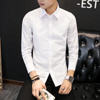 韩观白色男士长袖衬衫西装免烫职业装纯色上班白衬衣韩版商务修身正装 白色 816纯色长袖衬衫 S 95斤以下穿