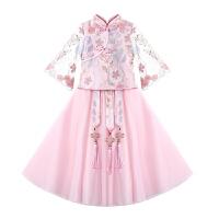 儿童汉服女春秋女童古装超仙春装中国风唐装童装礼服女孩连衣裙春
