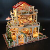 diy小屋手工房子模型超大�e墅豪�A公主房��意木�|玩具成人制作女