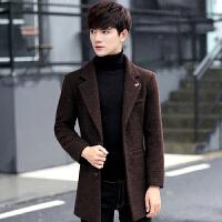 新款冬季中长款风衣男士修身加厚外套青年韩版毛呢大衣男英伦 咖啡色 M