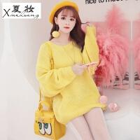 夏妆冬装新款韩版时尚针织衫蝙蝠长袖宽松显瘦百搭中长款毛衣连衣裙潮 黄色 均码