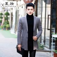 夏妆秋冬男士中长款风衣男款韩版修身型羊毛呢大衣男装呢子加厚外套潮 46 M