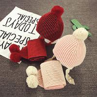 儿童帽子围巾套装两件套男女宝宝帽子1-2岁婴儿帽6-12个月加绒冬