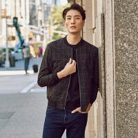 才子男装(TRIES)夹克 男士2017新款简约格纹修身时尚休闲夹克