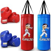 PU实心儿童沙袋套装 散打沙包跆拳道家用吊式不倒翁小孩拳击手套
