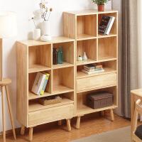 北欧日式简约实木书架带抽屉置物架书房家具简约书柜