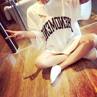 原宿字母印花宽松显瘦中长款破洞T恤嘻哈爵士舞服装女舞蹈练功服