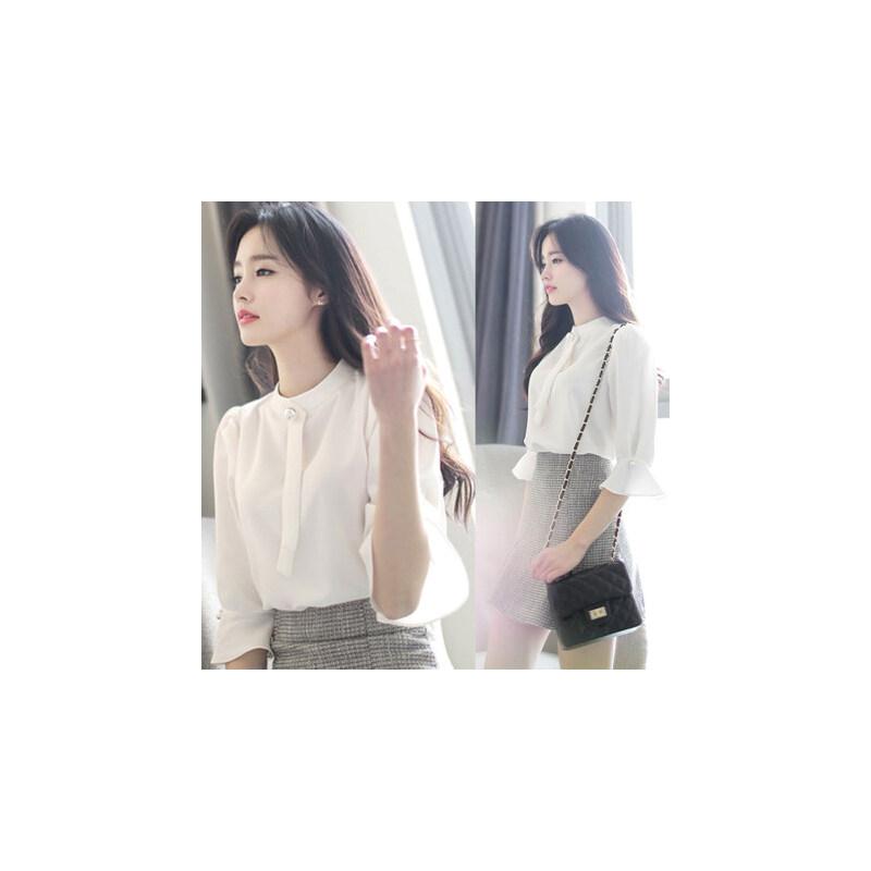 2018夏季女装新款白衬衫韩版百搭宽松短袖上衣纽扣白色雪纺衬衣女