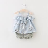 童装女宝宝夏装1-2-3岁女童吊带套装夏天儿童短裤两件套小孩衣服