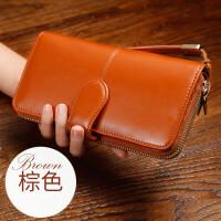 女士钱包长款拉链手拿手包女新款h (Q70)棕色