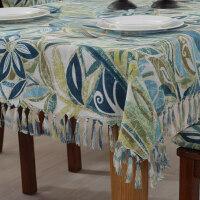 乡村桌布布艺棉麻西餐桌椅垫套装流苏圆长方形茶几台布