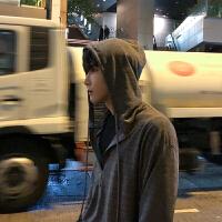 春季新款韩版连帽T恤宽松套头男士纯色长袖打底衫潮