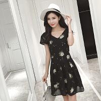 夏季短袖雪纺连衣裙夏装大码女装修身显瘦百褶裙