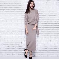 春冬新款韩版时尚女士羊绒套裙修身针织衫毛衣裙羊绒衫时髦套装