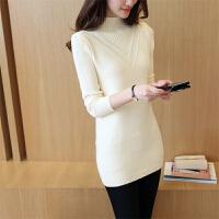 秋春装新款品牌毛衣女半高领羊毛衫中长款大码修身羊绒加厚打底衫