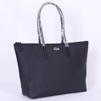包包女2018新款鳄鱼女包购物袋大容量单肩手提时尚通勤饺子托特包 黑色 大号横款