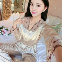 春秋季性感女士丝绸薄款睡衣两件套装韩版青年蕾丝长袖家居服大码