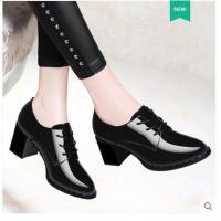 古奇天伦新款春季单鞋韩版英伦风小皮鞋早春鞋子女高跟鞋粗跟黑色百搭FR08840