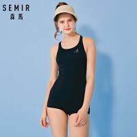 森马2021夏季新款连体泳装女保守遮肚显瘦运动游泳衣印花潮