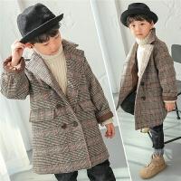 亲子装男童呢子外套2017新款韩版潮冬季儿童呢大衣格子加厚中长款