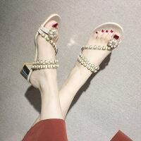 户外两穿中跟女士凉鞋女士时尚百搭串珠水钻套趾拖鞋外穿