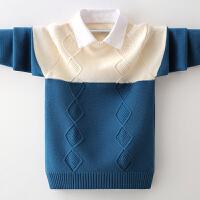男童毛衣套头秋冬中大童假两件儿童加绒衬衣领针织衫
