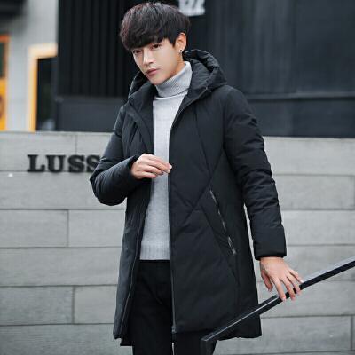 新款冬季男士羽绒服中长款加厚韩版连帽修身外套青年学生潮流 黑色 一般在付款后3-90天左右发货,具体发货时间请以与客服协商的时间为准