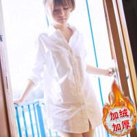 白衬衫女长袖中长款韩版加绒加厚秋冬季保暖打底衫宽松休闲衬衣