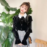 春装韩版蕾丝拼接翻领荷叶袖长袖丝绒衬衫休闲学生打底衬衣上衣女