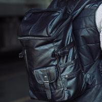韩版双肩包男旅行包潮包英伦男士pu皮包书包男包电脑背包 黑色