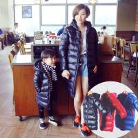 亲子装棉衣冬母子母女男童冬装羽绒长款女童袄子韩版2017新款