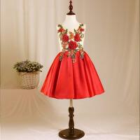 儿童演出服钢琴摄影蓬蓬裙秋 新款女童公主裙儿童礼服红色花童 红色