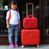 可爱行李箱万向轮卡通儿童16寸拉杆箱女宝宝公主可坐旅行箱登机箱 猫猫大红/子母 16寸+14寸