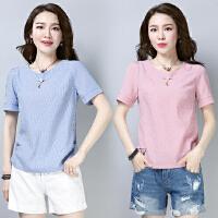 2019新款夏装修身圆领韩版女短袖 条纹上衣服夏季半袖体恤