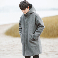 冬季韩版宽松连帽毛呢大衣男中长款风衣加厚尼妮子外套潮流
