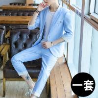西装套装男士外套夏季七分中袖发型师小西装修身西服休闲帅气潮流