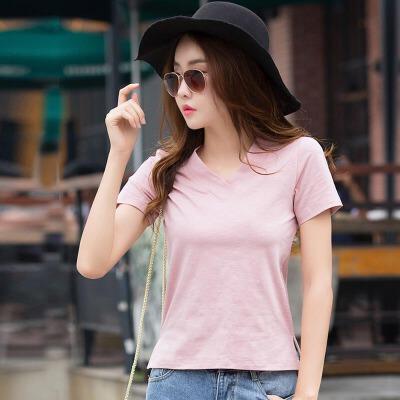 小v领上衣女夏装新款韩范前短后长不规则打底衫棉质纯色短袖t恤潮