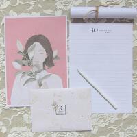 韩国花与爱丽丝信笺信纸信封套装横条小清新可爱卡通
