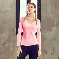 户外运动瑜伽服长袖上装T恤显瘦透气健身服运动速干上衣女