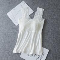 白色少女美背蕾丝吊带背心长款带胸垫打底防走光内衣裹胸抹胸上衣 均码