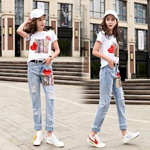 欧洲站夏装女2018新款欧货亮片印花短袖T恤破洞牛仔裤两件套装女
