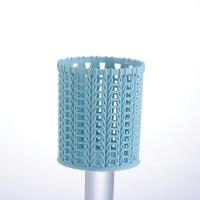 简约小清新创意藤编塑料笔筒多功能镂空桌面文具圆形化妆工具收纳