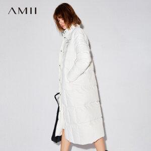 Amii[极简主义]90绒羽绒服女冬装2017新款宽松贴袋织带长款衣