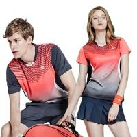 羽毛球服套装女款yy网球服透气短袖比赛队上衣男球衣