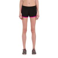 运动裤女短裤夏跑步健身夜跑显瘦瑜伽训练紧身打底裤 FNK6522黑拼玫红边
