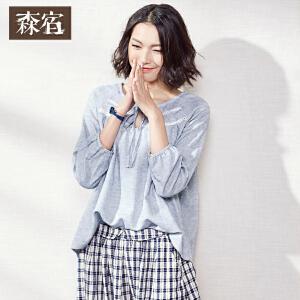 森宿豆豉君春装文艺肌理蕾丝拼接棉麻T恤