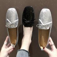 外穿女士平底单鞋新款一脚蹬懒人鞋子女 ins潮小皮鞋女韩版蝴蝶结软妹鞋子